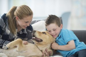 family playing with dog and looking comfortable inside home