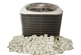 air conditioning unit sitting on top of money